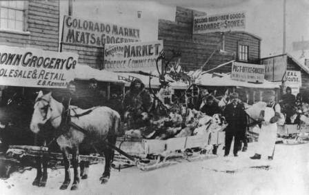Nine thousand pounds of moose and caribou killed by the Bartholf brothers being delivered in Dawson, Yukon Territory, Canada, February 10, 1900.