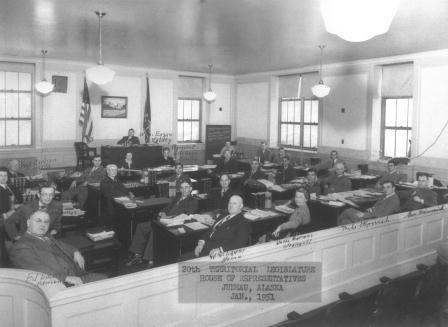 The 20th Territorial House in session during 1951.  Glen Franklin is at the far left edge of the photo.
