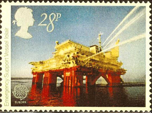 UK stamp featuring Intelligiant on off-shore oil rig in North Sea