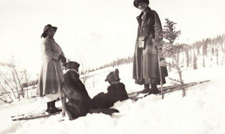Augusta Radovan at Dan Creek, snowshoeing with the wife of another miner.