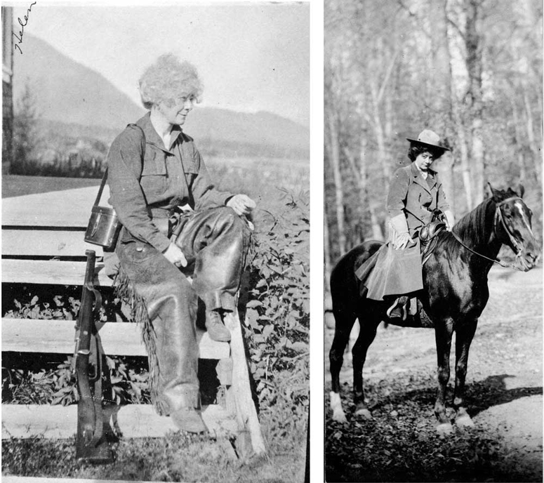 Van Campen on hunting tirp in Alaska, and on horseback in the EastS